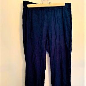 J. Jill Navy Blue Linen Straight Leg Pants Size S